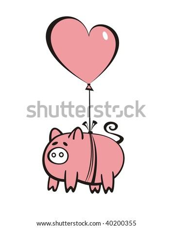 pig with balloon