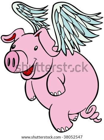 Flying pig stock photos royalty free images vectors - Pig wallpaper cartoon pig ...