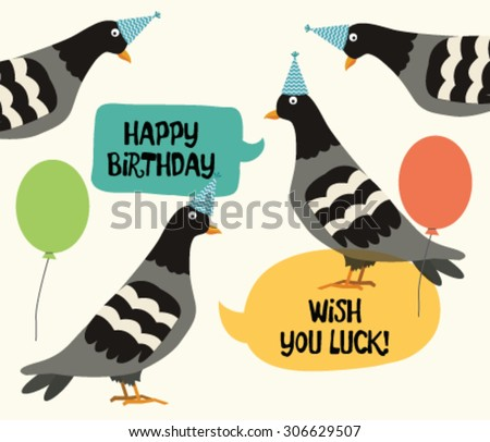 Pigeon birthday greeting card stock vector 306629507 shutterstock pigeon birthday greeting card bookmarktalkfo Images
