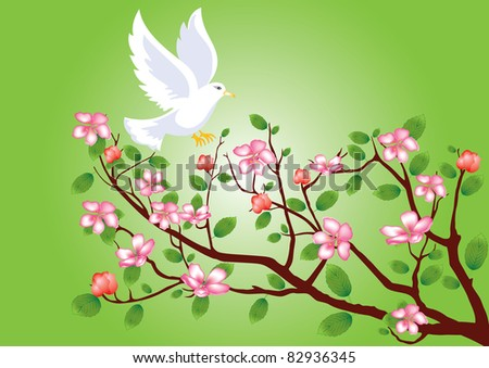 Pigeon flying to a flowering cherry branch - stock vector