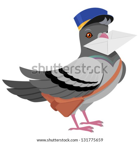 Pigeon postman with a letter in his beak