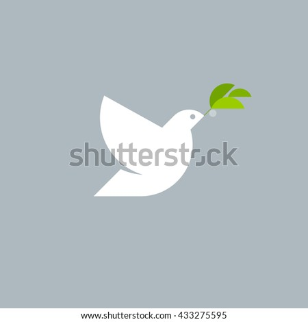 Pigeon with olive branch on a gray. Modern flat vector logo template - stock vector