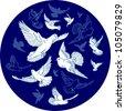 pigeons - stock vector