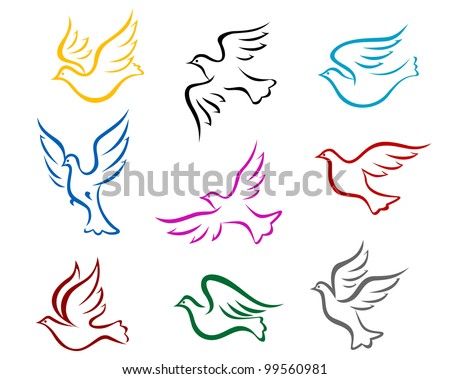 Pigeons and doves symbol set for peace or wedding concept design, such  a logo. Jpeg version also available in gallery - stock vector