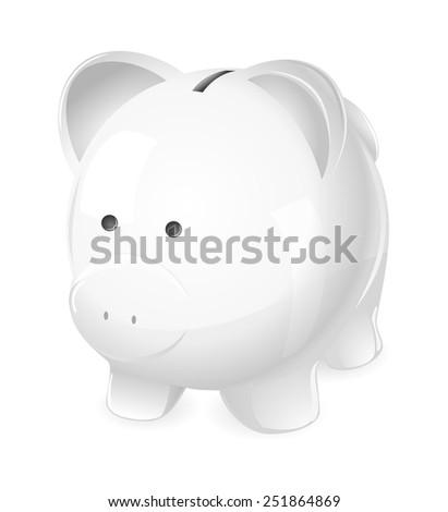 Piggy Bank. A cute white piggy coin bank.   - stock vector