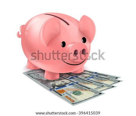 Piggy bank and fan of dollars banknotes. Piggybank standing on heap of one hundred dollars bills isolated on white background. - stock vector