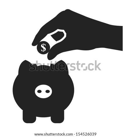 piggy bank and hand with coin black icon.vector illustration - stock vector