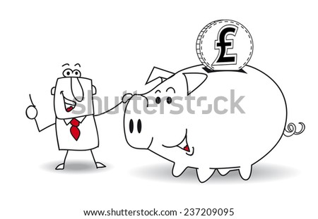 Piggy bank and pound sterling.This business man saves money in his Piggy bank . It's a metaphor. It's a good plan for the future - stock vector