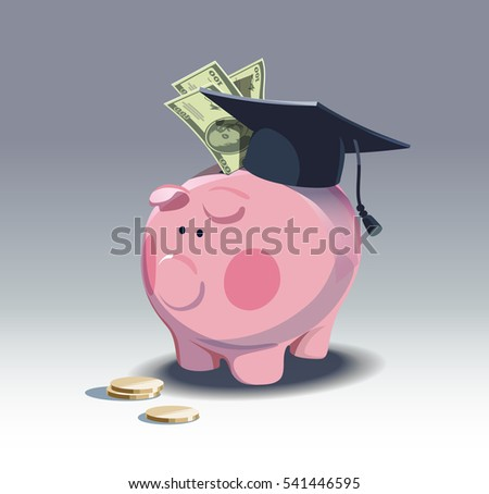Piggy bank and stack of coins. Saving for education. vector illustration .eps10