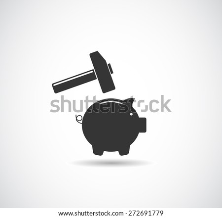 piggy bank broken with hammer icon concept - stock vector
