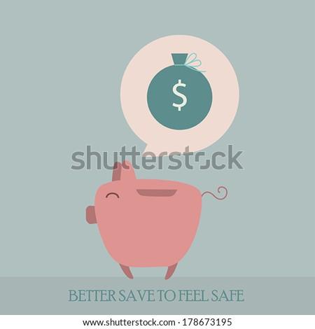 Piggy bank cartoon character thinks about saving money. Vector illustration - stock vector