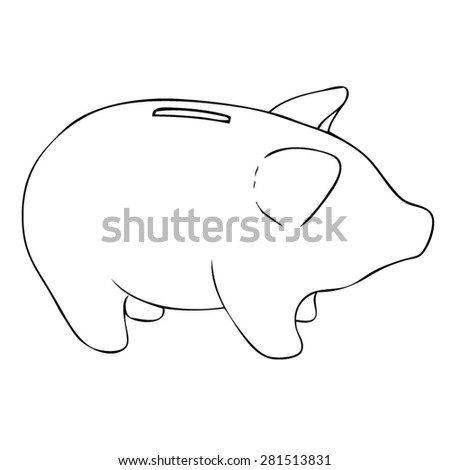 Piggy Bank - Drawn Outline Vector