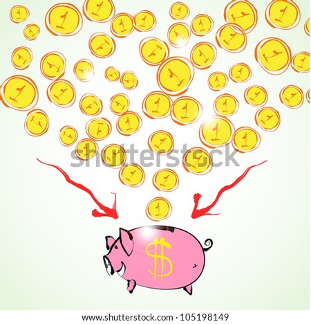 Piggy bank. Hand drawn sketch illustration isolated on white background - stock vector