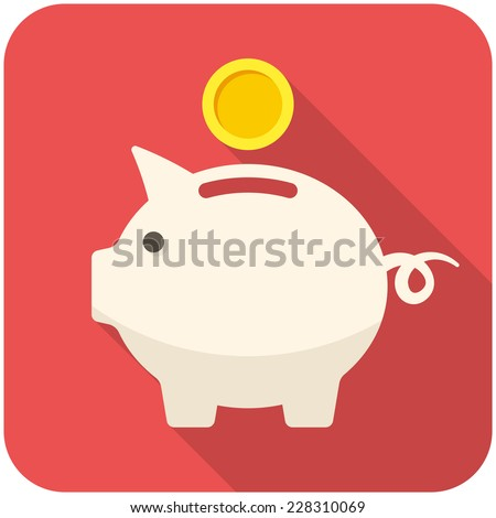Piggy bank icon (flat design with long shadows) - stock vector