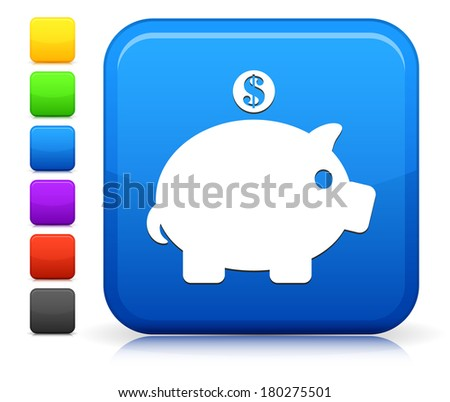 Piggy Bank Icon on Square Internet Button Collection - stock vector