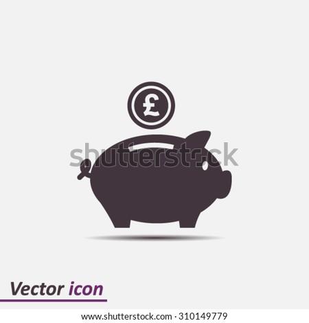 Piggy bank icon. Pictograph of moneybox - stock vector