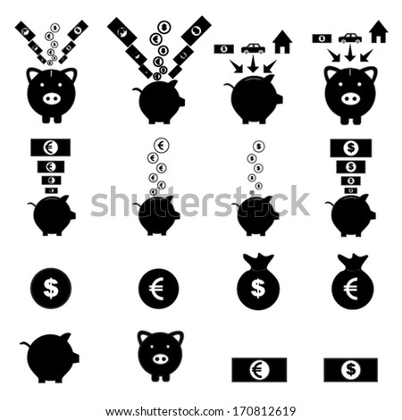piggy bank icon set - stock vector