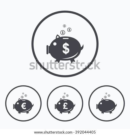 Piggy bank icons. Dollar, Euro and Pound moneybox signs. Cash coin money symbols. Icons in circles. - stock vector