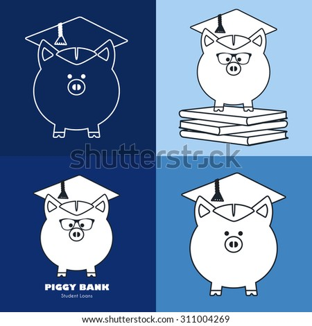 Piggy Bank in Graduate Hat vector sign in flat & line style. Educational icon template set. Student loan, financial aid, money saving plan for high education concept. Sample text. Layered, editable - stock vector