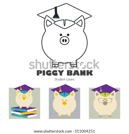 Piggy Bank in Graduate Hat vector sign set. Educational icon, business sign template. Student loan, financial aid, money saving plan for high education concept. Sample text. Layered, editable design - stock vector
