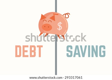 piggy bank jump to debt bankruptcy concept - stock vector