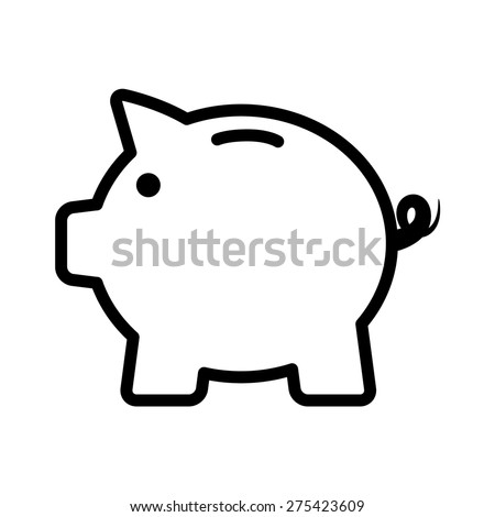 Piggy bank line art icon for apps and websites - stock vector