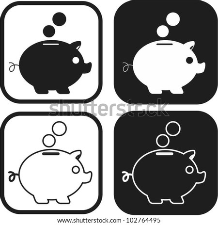 Piggy bank money icon - stock vector