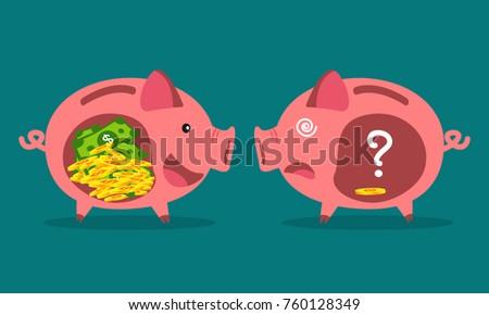 Rich man poor man stock images royalty free images vectors piggy bank money savings concept sciox Images