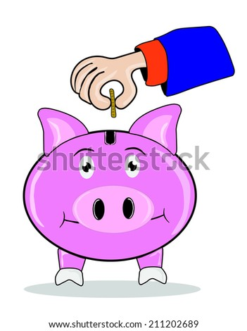 Piggy bank officer put money inside for invest in the future - stock vector