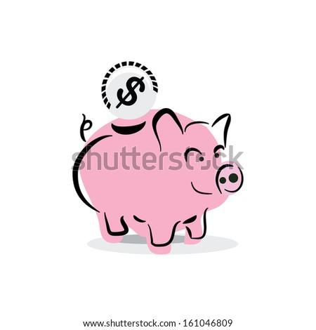 piggy bank on white background - stock vector