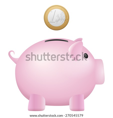 Piggy bank one euro on a white background. - stock vector
