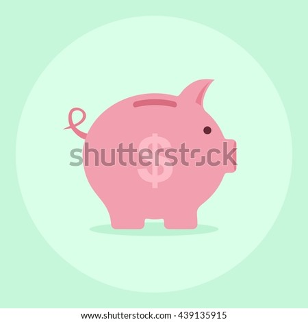 Piggy bank saving money in flat style. Investment planning concept money box. Finance piggy bank icon for cash and coins vector. Pig isolated on background. - stock vector