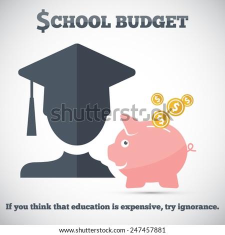 Piggy bank savings - school budget - stock vector