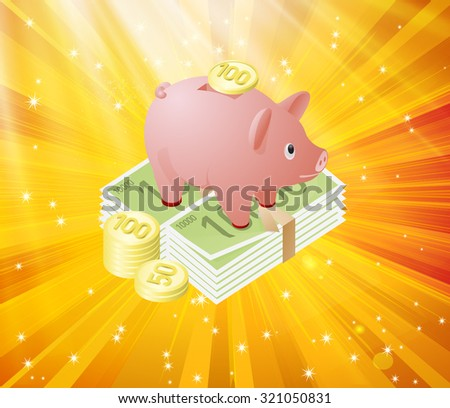 Piggy Bank Savings - Vector Symbol Illustration - stock vector