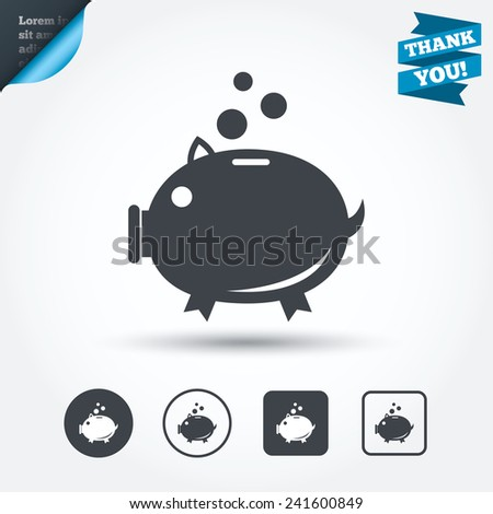 Piggy bank sign icon. Moneybox symbol. Circle and square buttons. Flat design set. Thank you ribbon. Vector - stock vector