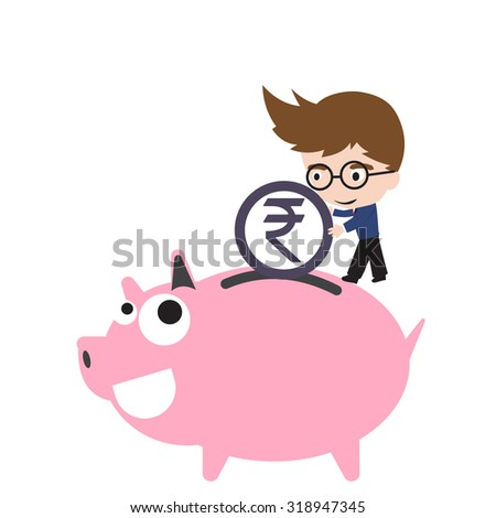 Piggy bank smile and happy, businessman putting money coin, currency Rupee symbol for saving financial concept isolated on white background - stock vector