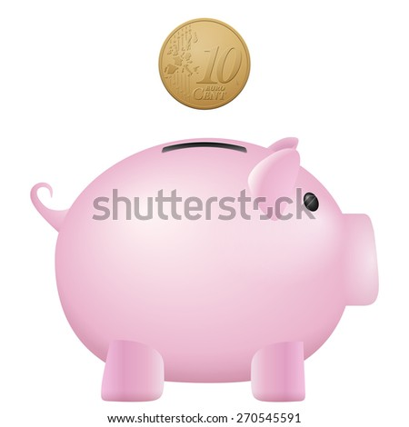 Piggy bank ten euro cent on a white background. - stock vector