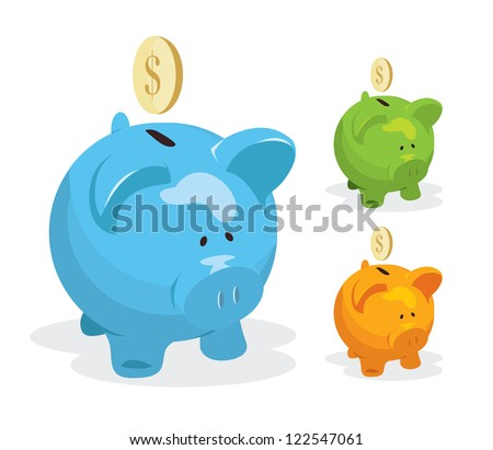 Piggy bank vector - stock vector
