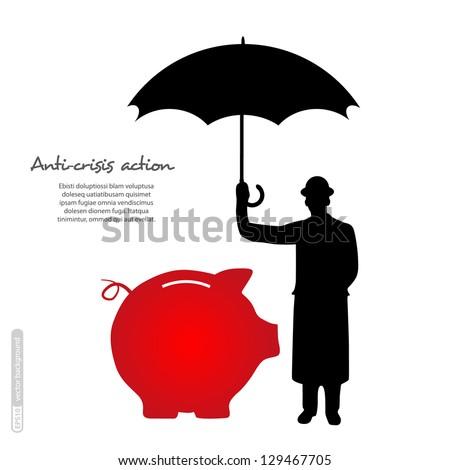 Piggy bank. Vector. - stock vector