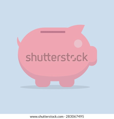 Piggy bank vector flat icon , EPS10 vector illustration  - stock vector