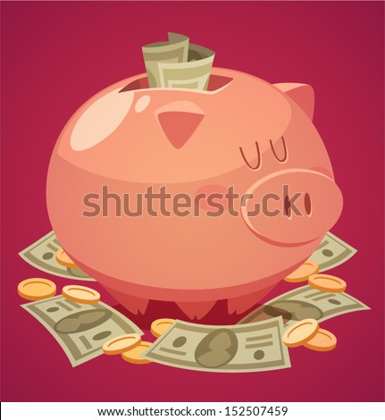 Piggy bank. Vector illustration. - stock vector