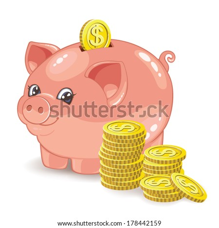 Piggy bank with a stack of coins. Vector illustration - stock vector