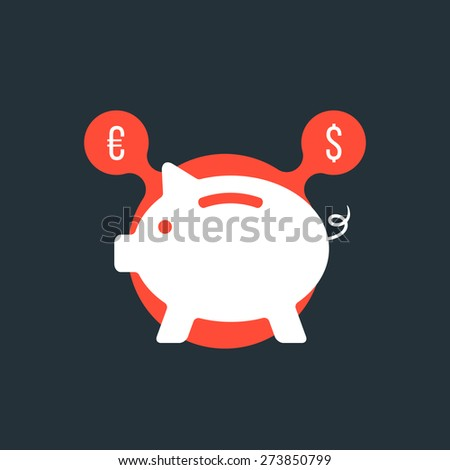 piggy bank with currency sign in red bubble. concept of poverty, commerce, frugality, economics, success, payment, thrift. flat style trendy modern logo design vector illustration - stock vector