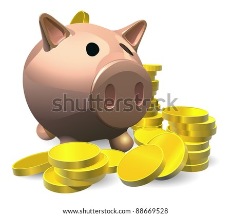 Piggy bank with gold coins illustration, savings concept - stock vector