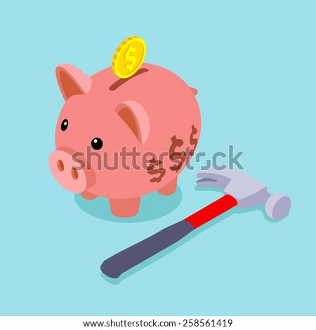 Piggy bank with golden coin and lying hammer. Conceptual illustration suitable for advertising and promotion - stock vector