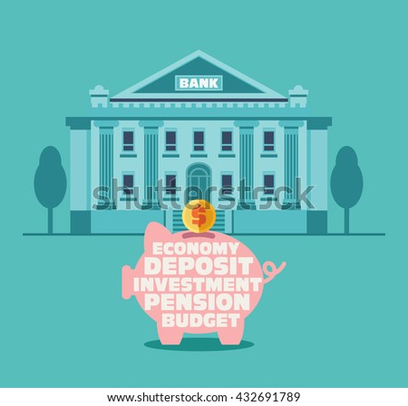 Piggy bank with inscriptions: economy, deposit, investment, pension, budget. Bank building in city street . Saving and investing money concept. Future financial planning concept - stock vector