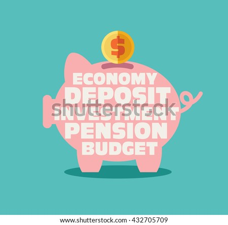 Piggy bank with inscriptions: economy, deposit, investment, pension, budget . Saving and investing money concept. Future financial planning concept. Modern vector design style - stock vector