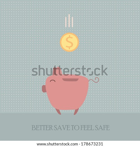 Piggy bank with money. Better save to feel safe. Cute cartoon style.Vector illustration - stock vector