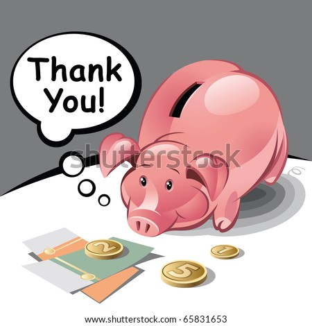 Piggy Bank with Text Bubble, Coins and Banknotes. Vector Illustration - stock vector