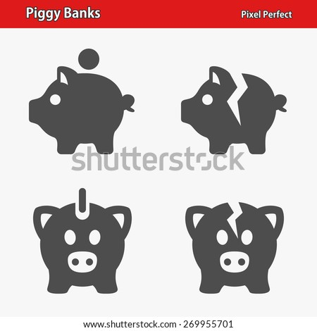 Piggy Banks Icons. Professional, pixel perfect icons optimized for both large and small resolutions. EPS 8 format. - stock vector